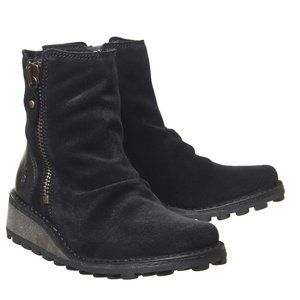 NEW Fly London Mon Zip Boots Black Suede